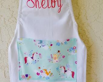 Unicorn apron includes name toddler size through tweens girls  kids chefs baking apron