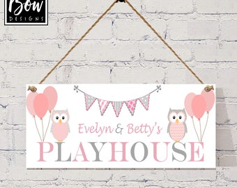 PINK & GREY PLAYHOUSE Owls, Girls Playhouse, bedroom, bunting balloons playroom den