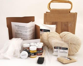 Cold Water Procion MX Dyeing Kit for Cotton, Linen, Viscose, Hemp, Silk Yarns, Fabrics and Fibres, Full Instructions, Beginners Gift & Bag