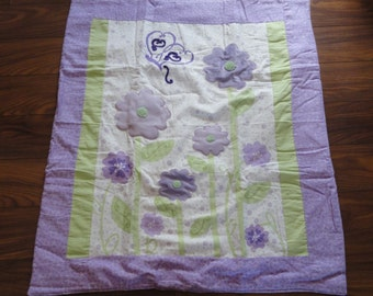 Handmade & Homemade Crib Quilt - Purple Flower and Butterfly-Flannel