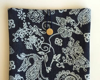 Paisley Jean Ipad Air Case,Jean Ipad Sleeve,Blue Ipad Cover,Floral Ipad Air Case,Fabric Ipad Air Case,Jean Book Case,Flower design İpad Case
