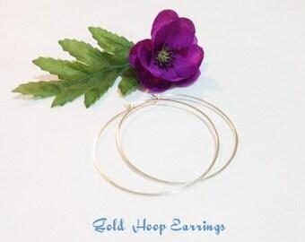 """Large Gold Hoop Earrings, hammered, Spring Sale, 1.5"""" Hoops, 2.25"""" Hoops, 2.5"""" Hoops, 3"""" Hoop Earrings, Smooth Thin Gold Hoops,"""