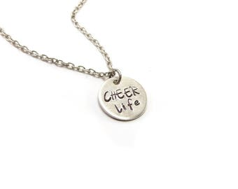 Cheer Life Necklace, Sterling Silver Finish, Cheerleading Tag Necklace, Gifts For Cheerleaders