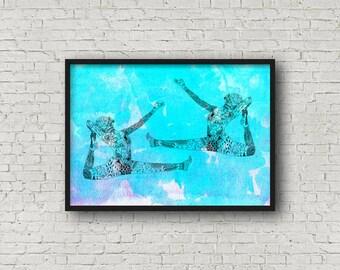 Pilates art, Pilates print, pilates wall art, pilates artwork, zen wall art, Gift for Yogi, pilates lover gift, Yoga Decor, Blue Art Print