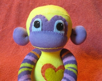 Chroma - Best Friend Sock Monkey Plush - Yellow & Purple - Handmade Doll