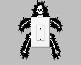 Funny Outlet Or Light Switch Wall Decal Sticker Skeleton Electric Electrocuted Small Vinyl Power Switch Lightswitch Living Room Mural, s45