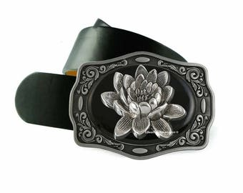 Lotus Fower Belt Buckle Inlaid in Hand Painted Glossy Black Enamel Metal Buckle with Assorted Color Options