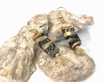 Lamp Work Glass Bead Earrings, Hammered Swirl Gold Earrings, Individual Unique OOAK Jewelry, Brown Gray Rectangle Earrings, Gift for Her