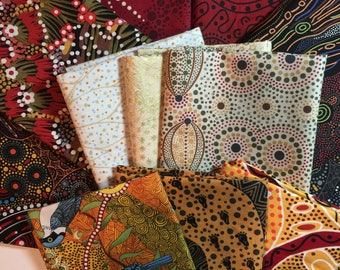 "Australian Fabric ""Day Dream Morning"" BUNDLE Aboriginal Spiritual Stunning Reds Golds Creams Oranges 100% Quality Cotton 15 PC FQ Bundle"