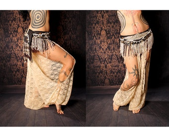 Goddess Harem Pants, cream lace cut out legs. exotic belly dance, Turkish floorwork, tribal fusion, Gypsy dance costume, large pantaloons