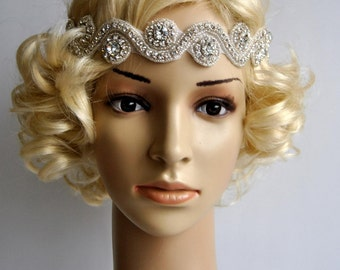 Rhinestone Tie on Headband headpiece, Headband, Wedding Headband, ribbon headband, Bridal rhinestone head piece