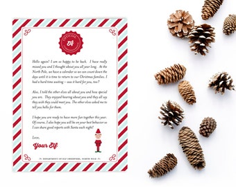 Elf Welcome Back Letter, Christmas Introduction Note, Intro Letter, Printable Instant Download
