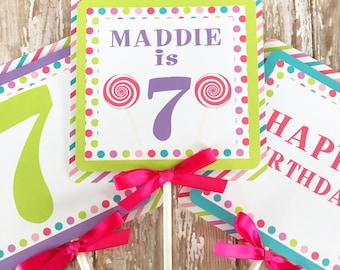 lollipop birthday centerpieces, candy birthday centerpieces, custom candy buffet center pieces, rainbow polka dot birthday table toppers