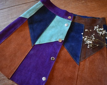 70s vintage high waisted patchwork suede skirt XS to S