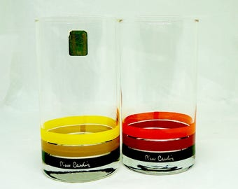 Pierre Cardin; Drinking Glasses; Tumblers; High Ball; 1970's; approx. 3 x 5.5 Inches; Retro !!!