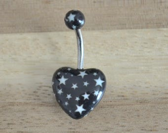 Black and White Star Print Heart Shape Acrylic Belly Button Ring Navel Body Piercing Jewelry