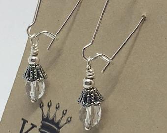 E1825: Crystal Drop Dangle Earrings -- Clasp Back