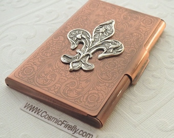 Copper Business Card Case Silver Fleur De Lis Steampunk Card Case Card Holder Gothic Victorian Style Card Case New Handcrafted Card Case