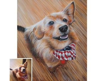 16x20 Large custom pet portrait painting on canvas dog cat art