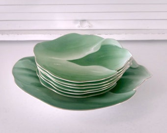 Vintage Sushi Appetizer Plates Fukagawa Green Leaf Small Serving Plant Lovers Gift Retro Mid Century Hawaiian Bohemian Home Decor