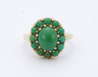 Vintage 14K Yellow Gold Turquoise Cluster Ring