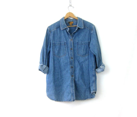 90s Jean Shirt Blue Denim Blouse Button Up Basic Hipster Shirt Normcore Oxford Color Shirt Vintage Womens size 1X