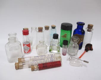 Vintage Mini Glass Medicine or Perfume Bottles, 19 Vials Different Sizes and Shapes, Apothecary, for Crafts, Upcycle, Potions, Testers