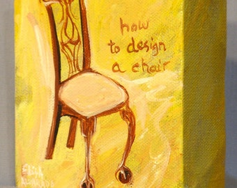 chair painting, original acrylic painting on canvas, How to Design a Chair, home decor, wall art, miniature art
