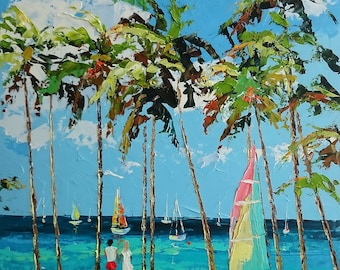 Sunny day at the beach in Key West; Original palette knife oil painting; framed