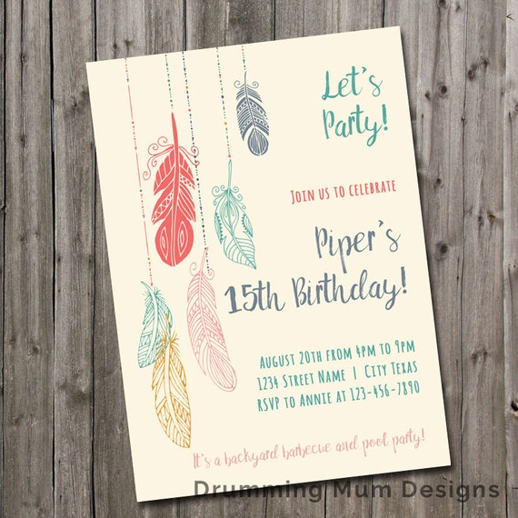 Feather Birthday Party Invitation Teen Girl Tween Birthday