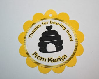 12 Bee Hive Die Cut - Favor Tags - Gift Tags - Thank you Tags