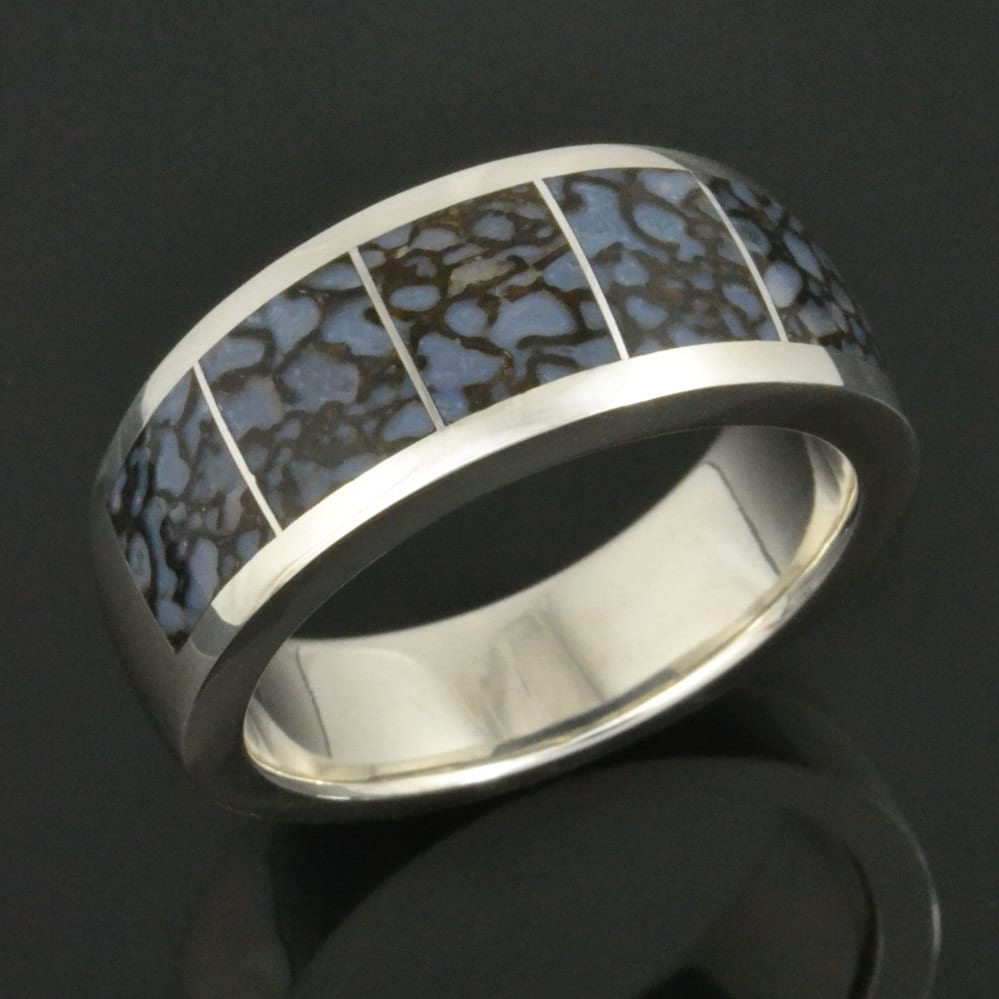 bead inlay white band tungsten rings bone dinosaur finish polished ring beveled products wedding next