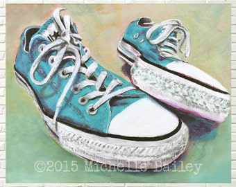 Art print   Converse  All Star Sneakers   Turquoise Blue   8x10 or 11x14 matted print