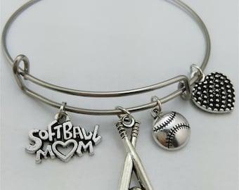 Softball Bracelet, I love Softball, softball mom, bangle bracelet, charm bracelet, softball, basketball Bangle, softball love