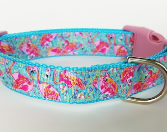 Flamingo Dog Collar / Summer Dog Collar / Beach Dog Collar