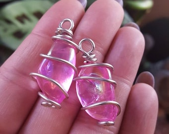 Aura quartz wire wrapped pendants/Custom necklaces available/Pagan Gemstone Jewelry/Metaphysical Healing Jewelry/Pink Ethereal Necklace