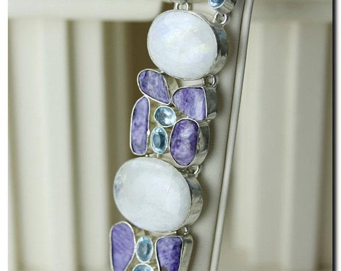 Stunning Combination! CEYLON Moonstone Charoite 925 Solid Sterling Silver Bracelet & FREE Worldwide Shipping B1026
