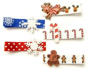 Children Winter Hair Clips Set, Holiday Hair Clips for Girls, Gingerbread Man Reindeer Snowflake, Children Winter Accessory