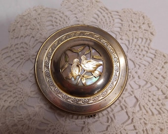 Brass Powder Compact Cut Out Brass Pair of Birds over MOP Mother of Pearl Vintage Vanity Garanti Dore' Mirror Compact