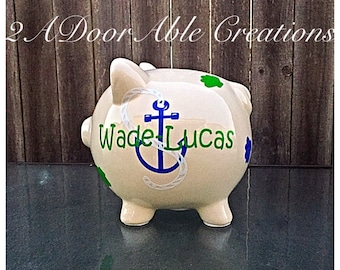 Large personalized ceramic piggy bank