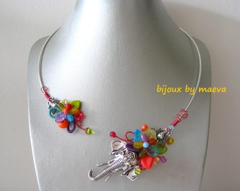 Colorful creative jewelry necklace open elephant