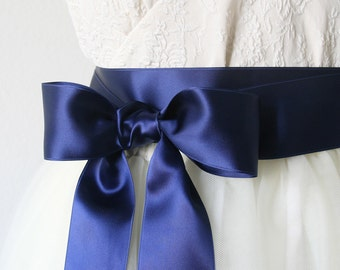 Blue Wedding Sash - Navy Blue Bridal Belt, Bridesmaid Sash Blue, Satin Ribbon Belt, Flower Girl Sash, Navy Blue Wedding, 2 Inch Wide Ribbon
