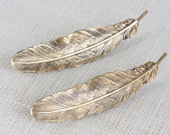 Feather French Barrettes (Brass)