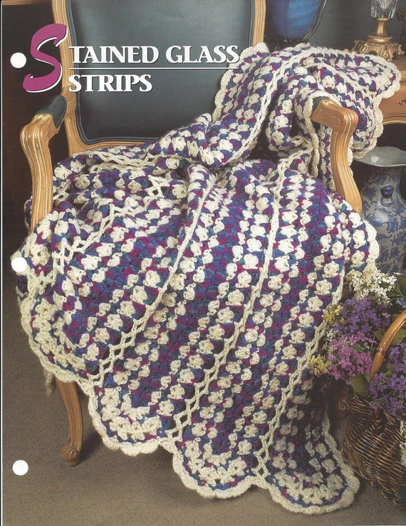Stained Glass Strips Crochet Afghan Blanket Pattern Home