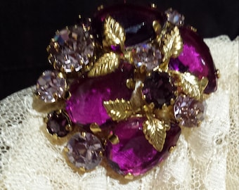 Vintage brooch with pink and purple Austria crystal