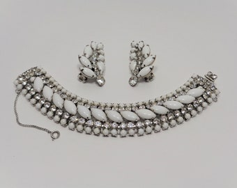 Vintage Weiss White Rhinestone Bracelet and Climber Clip Earrings