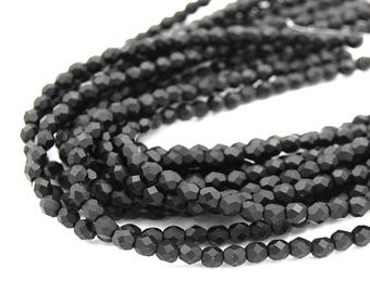 100/pc Matte Jet Black Czech 4mm Fire-polished Faceted Round Beads