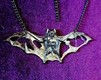Bat of Decay Necklace - gothic broken bat wing neckpiece goth black bat vampire dracula