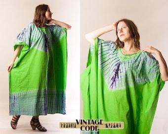 Cotton Tie Dye Caftan Kaftan  / Bright green Purple Dashiki Caftan / Ethnic boho Hippie festival clothing / one size free size