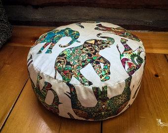 Pouf Zafu - Elephant - Meditation cushion Reversible handmade by Creations Mariposa